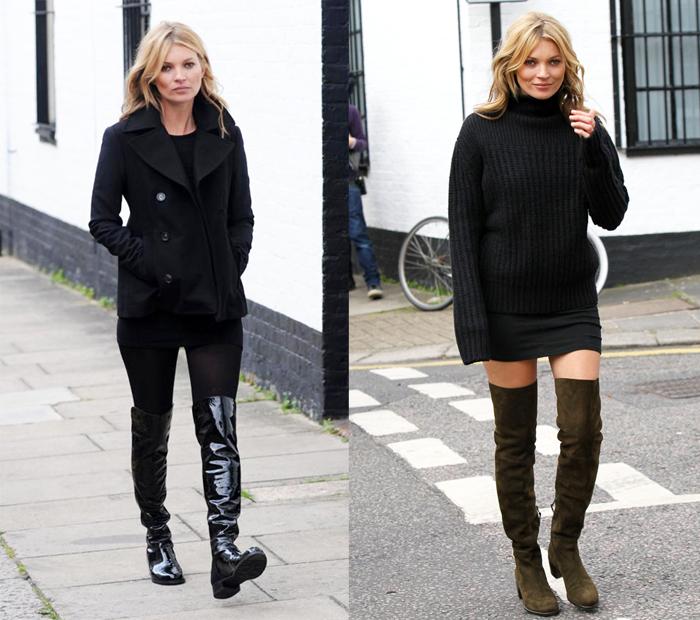 Кейт Мосс любит носить ботфорты без каблука