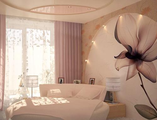 Для спальни отлично подойдут нежные тона фотообоев
